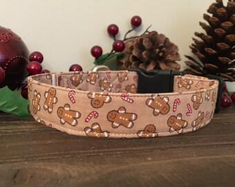 Dog Collar, Christmas Dog Collar, winter Dog Collar, candy cane dog collar, candy cane collar, winter dog collar, gingerbread man collar