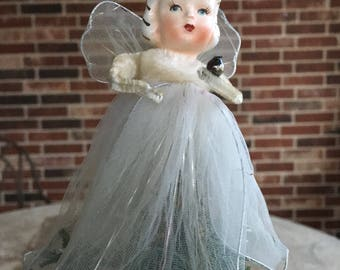 Vintage 1950's Holt Howard Angel Christmas Feather Tree Topper, Figure, Ornament, Ceramic Head, Glittered White Netting Gown, Chenille Arms