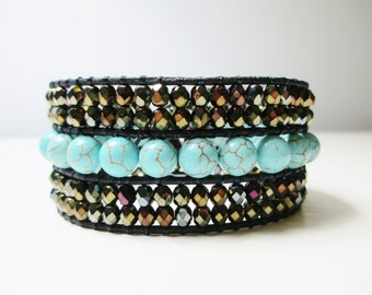 Gemstone Beaded Leather Cuff Bracelet - Turquoise and Bronze Czech Crystal