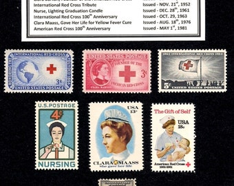 1931 - 1981  Nursing and Red Cross Tribute in Vintage Unused U.S. Postage Stamps - all with original, undisturbed,  gum - Free Shipping