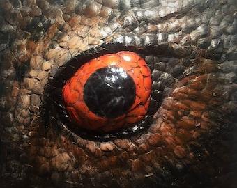3D eagle owl eye, mixed media wall art