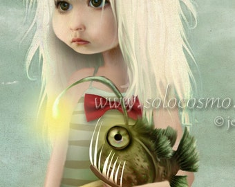 "Angler Fish and Little Girl Beach Print ""My Fishy Friend"" Fine Art 8x10, 11x14, 13x19 Print of Original Artwork - Girl and Sea Monster"