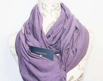 Lavender Infinity Scarf with Hidden Pocket. Travel scarf, Phone Pocket Scarf, Passport Scarf Mother's Day Gift, Bridesmaid gift