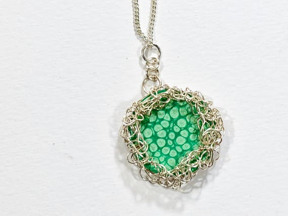 SJC10228 - Necklace - silver plated wire crochet bezel for turquoise blue enamel painted round copper disc reversible pendant and chain