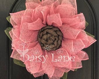 Flower Wreath, Burlap Wreath, Front Door Wreath, Summer Wreath, Handmade Gift