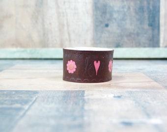 Stamped Leather Cuff, Leather Cuff Bracelet, Pink and Brown, Love Bracelet Leather, Hand Stamped Leather, Brown Leather Cuff Bracelet