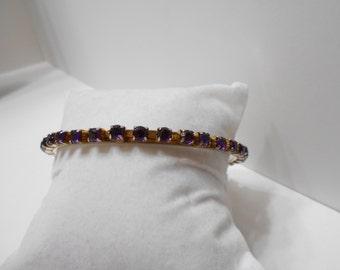 Vintage Amethyst Rhinestone Bangle Bracelet (8207)