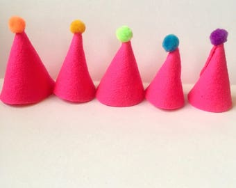 Miniature Pink Party Hats with Pom Pom