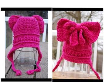 Big Bow Crochet Hat