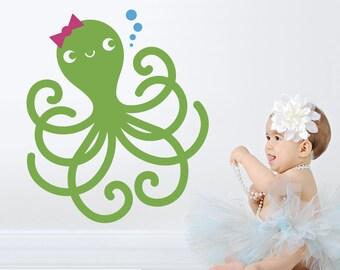 Happy Octopus Wall Decal Ocean Baby Sea Life Nursery Underwater Kids Room Decor Under the Sea Kawaii Wall Sticker