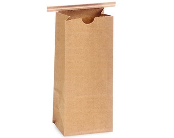 10 Gusseted KRAFT Bakery or Coffee Bags with Tab Lock Tin Ties (plain front) . 1/2 lb.