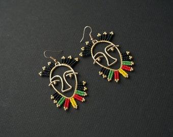 Rasta Earrings, Reggae Earrings, Hollow Out Earrings, Face Earrings, Picasso Style Earrings, Golden Hollow Face Earrings, Statement Earrings