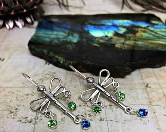 Dragonfly Earrings - Dragonfly Jewelry, Dragonfly Gift, Insect Jewelry, Blue Green, Dragonflies, Nature Jewelry, Seahawks Inspired, Dangles
