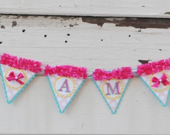 Ribbons and Bows 1st Birthday High Chair Banner Girl