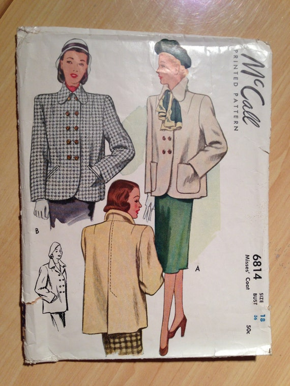 McCalls 40s Sewing Pattern 6814 Misses Coat Size 18