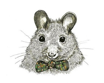 Mouse Art - Mouse Drawing - Wildlife Drawing - Mice Love Bow Ties  - Whimsy Art - Print of Original Mouse Drawing