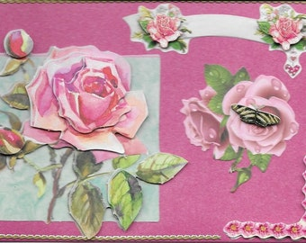 Handmade, women and flowers, 3D card category flowers: roses - birthday cards, get well, retirement, mother's day