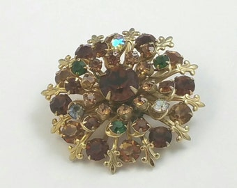 Round Brown Glass Rhinestone Brooch Pin Unsigned