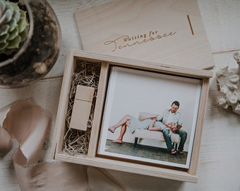 Custom set of 50 boxes - 5x5 Wood print box with enough space for 5x5 prints and usb flash drive