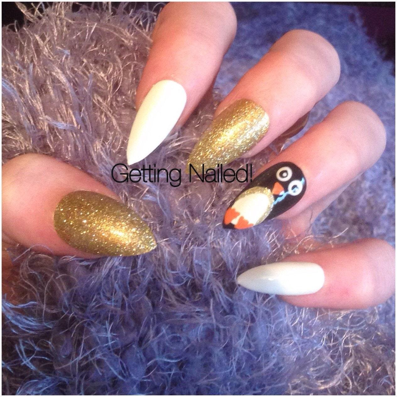 Christmas pengiun nails false nail set christmas false