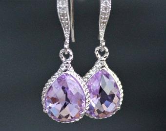 Orchid Lavandar Crystal Teardrops in Silver on Crystal Detailed French Earrings