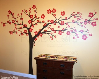 Floral Tree Wall Decals, Flowers Tree Wall Stickers, Blossom Tree Decal - Super Big Floral Tree - Girls Lady Flower Wall Art pt0246