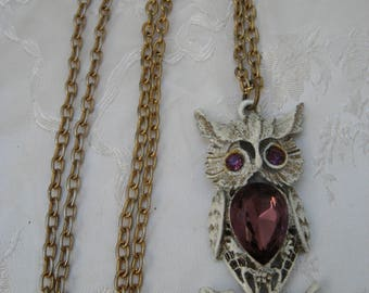 Gift Vintage 1970s Winter Owl Pendant & Necklace Gift Purple