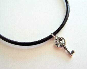 Large Key Charm Ankle Bracelet on a Leather Cord by Ankletgypsy