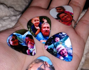 Photo Guitar Pick, Custom Photo Guitar Pick, Personalized Guitar Pick, Guitar Picks, Gifts for Dad, Keepsake Gift, Photo with Text