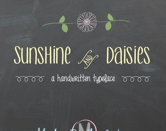 """Chalkboard Font-Digital Handwritten Font for Commercial Use- """"Sunshine and Daisies"""" - True Type ttf and Open Type otf instant download"""