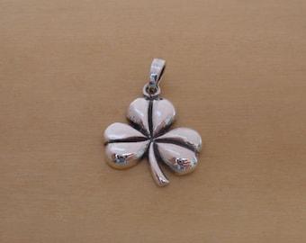 925 Sterling Silver Goodluck, Good Luck Shamrock, Clover Pendant