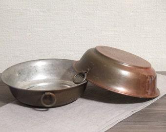 Set of 2 Vintage Metal Copper Hanging Bowls, Chunky Bowls  @110