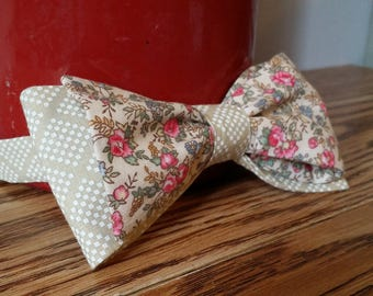 Pink and Ecru Floral Bow Tie