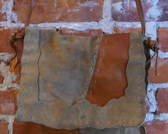 Suede & Leather Rugged Festival Shoulder  Bag