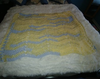 265-Baby Blue and Yellow Afghan for Baby or Small Toddler