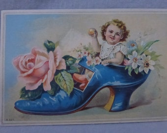 Antique Ephemera Victorian Advertising Card Baby in a Shoe