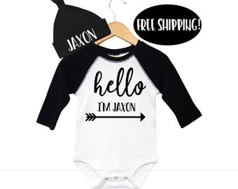"""Black and White Baby Raglan Hello I""""m Bodysuit and Newborn Hat with name, Hello with name Outfit and Personalized Hat, Personalized Baby Hat"""