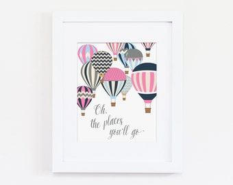 Oh the Places You'll Go Nursery Quote, Dr Seuss Art Quote, Pink Nursery Decor, Girls Bedroom Art, Instant Download, Inspirational Art