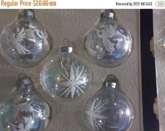 On Sale Vintage Pyramid Christmas Ornaments, Clear W/White Glitter, Angels  U0026 Starburst