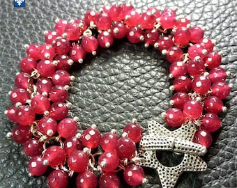 Superb Strawberry Pink Agate & Plated Silver Bracelet