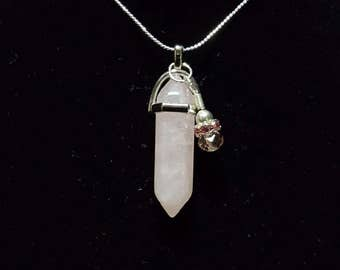 Rose Quartz Chakra Pendant Necklace with Charm
