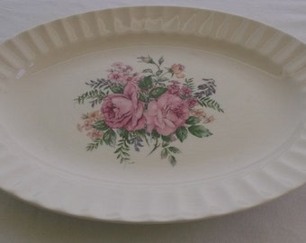 Vintage Platter, Oval China Platter, Pink Roses and Fluted Pie Crust Edge, Knowles China