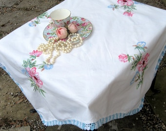 Vintage Small Embroidered Tablecloth, Embroidered Flowers Crochet Edge, Shabby French, Romantic Home, by mailordervintage on etsy