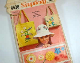 Vintage Simplicity Hat, Tote, Purse Pattern No. 6430, Accessories With Rick Rack Appli-tiques, Retro 1966 (607-12)