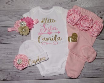 baby girl coming home outfit, newborn baby girl, little sister, take home outfit, name, sparkling new, outfit, hello world, newborn outfit,