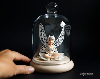 Tinker Bell in a Bell Jar - Miniature Tinker Bell - Miniature Paper Art inside a Dome