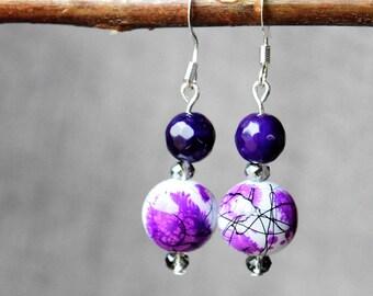 Purple Earrings, Jewelry, Dangle Earrings, Gift for Her, Handmade Jewelry, Mother's Day Gift