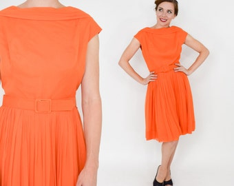 Lilli Diamond Dress | 50s Orange Sleeveless Chiffon Party Dress | Medium