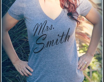 Mrs. _Your Last Name_ Womens V Neck Shirt,Future Wifey,Wifey Shirt, Bridal Shower Gift, Wedding, Bride Shirt, Bachelorette,Bride To Be Shirt