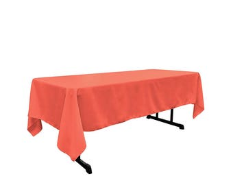 Exceptional Coral 60 X 108 Rectangular 100% Woven Polyester Tablecloth For Banquets,  Weddings U0026 Parties